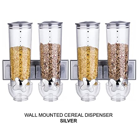 dry food storage containers. Double/Triple Wall Mounted Cereal Dispenser Dry Food Storage Container (Double Silver X 2 Containers H