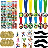 Super Mario Bros Birthday Party Favors Pack For 12 With Mario Coins, Super Mario Mustaches, Removable Tattoos, and Mario and Friends Pencils With Exclusive Birthday Pin by Another Dream