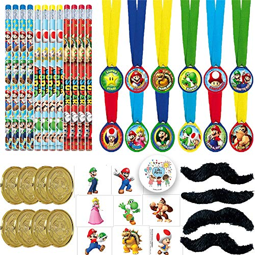 Super Mario Bros Birthday Party Favors Pack For 12 With Mario Coins, Super Mario Mustaches, Removable Tattoos, and Mario and Friends Pencils With Exclusive Birthday Pin By Another Dream!