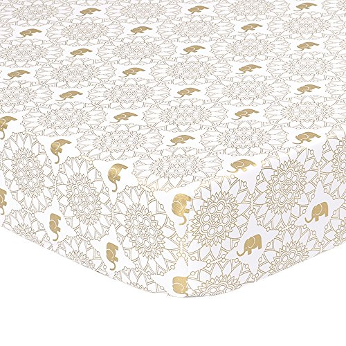 Gold Medallion Collection - Metallic Gold Elephant Medallion Print Fitted Crib Sheet - 100% Cotton Baby Girl Little Peanut Collection Nursery and Toddler Bedding