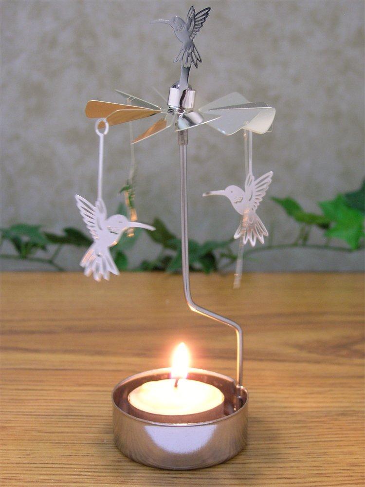 """Spinning Humming Bird Candle Holder Silver Metal Scandinavian Style Carousel"""