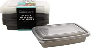 Cuisinart 1 Compartment Meal Prep Containers, 24 Piece, Set of 12 BPA Free Food Storage Containers with Lids-Reusable, Stackable Bento Box Containers-Microwave, Dishwasher, Freezer Safe-Gray, 28.75oz