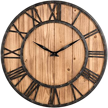 large rustic wall clock Amazon.com: Oldtown Farmhouse Rustic Barn Vintage Bronze Metal  large rustic wall clock