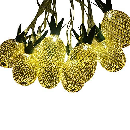 Jessie storee Solar String Lights Gold Pineapple Bulb Festival Curtain Lanterns Window Waterproof Decoration Garden Wedding Patio Lawn Fairy Decorative Outdoor (10LED, 3.5M, Yellow) from Jessie storee-Decoration
