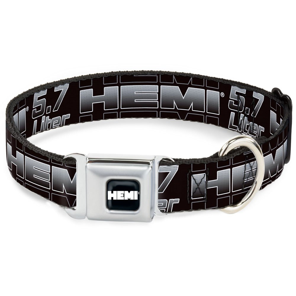 HEMI 5.7 LITER Black White Silver-Fade 1\ HEMI 5.7 LITER Black White Silver-Fade 1\ Buckle-Down Seatbelt Buckle Dog Collar HEMI 5.7 Liter Black White Silver-Fade 1  Wide Fits 9-15  Neck Small