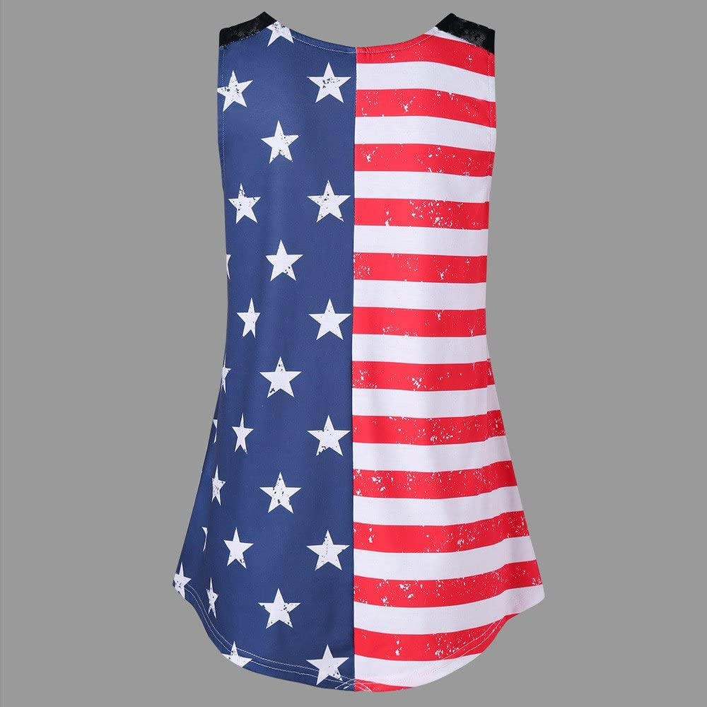 Tank Tops for Women Plus Size Vickyleb Womens Lace Insert V-Neck USA Letter Printed Vest Tank Tops Loose T-Shirt Blouse
