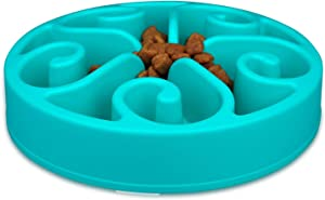 wangstar Slow Pet Bowl Slow Feeder for Dog Cats, Bloat Stop Puzzle Bowl Fun Maze Feeder Slow Feeding Anti-Skid Design(Blue,8''x1.9'')