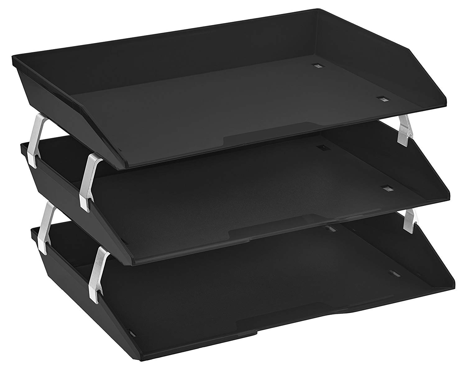Acrimet Facility 3 Tier Letter Tray Side Load Plastic Desktop File Organizer (Black Color)