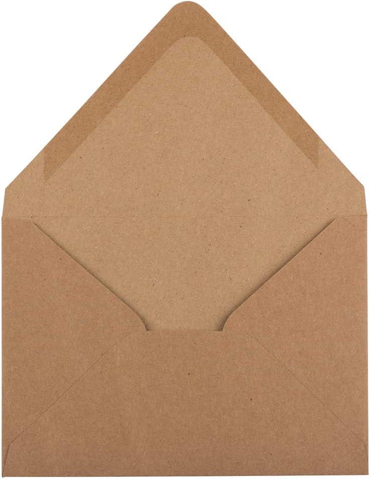 JAM PAPER Buste per Inviti a Chiusura a V 50//Confezione 120,7 x 165,1 mm Marrone Kraft Riciclato