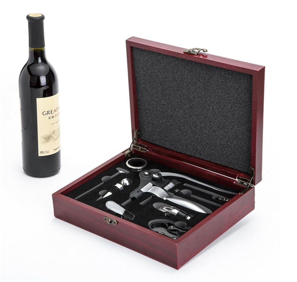 Luxury Celebrate Gift Set Drinking Wine Bar Decoration Kitchen Drinkware Accessories Bottle Hand Tools W/Classic Wood Box LXU3