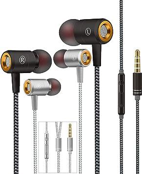 Auriculares,Auriculares In-Ear con micrófono,Auriculares con Cable Aislamiento de Ruido Sonido Estéreo 3.5mm Sonido Puro para Phone,Andriod Smartphone,Reproductores de MP3 y más(Negro y Plata): Amazon.es: Electrónica