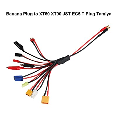 10 in 1 RC Lipo Battery Charger Lead Connector Adapter 4.0mm Banana Plug to XT90 XT60 JST EC5 T Plug Tamiya Mini Tamiya Glow Ignitor Futaba Alligator Clips for RC Car Boat Airplane Battery Charge