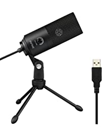 USB Microphone,Fifine Metal Condenser Recording Microphone for Laptop MAC or Windows Cardioid Studio Recording Vocals...