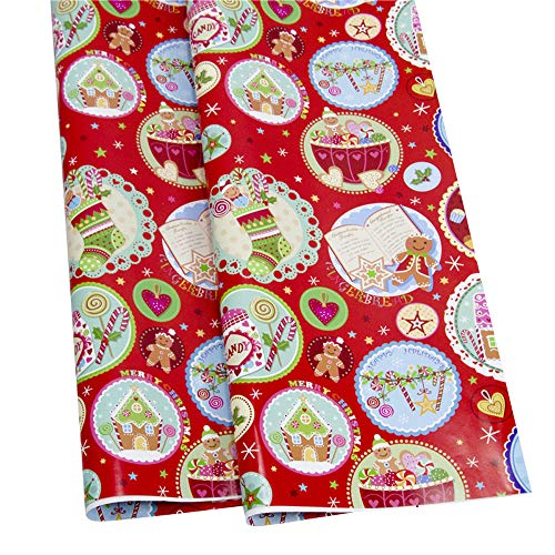 Lywey Clearance for Thanksgiving Christmas Wall Sticker Decorations Wrapping Paper Gift Present Tree Santa Wrap Decorative Xmas Roll F
