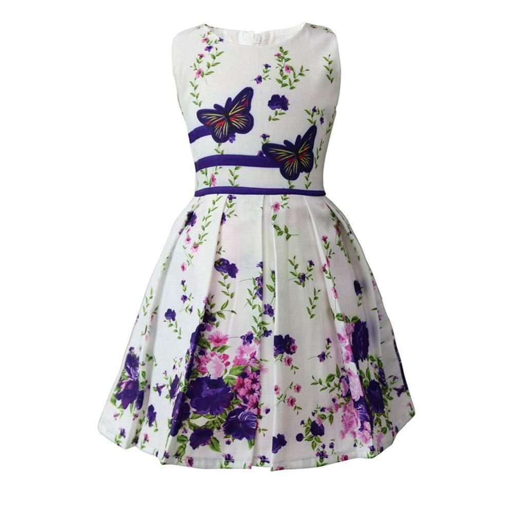 Karoleda Baby Girls Clothing Set Sleeveless Flower Print Double Bow Tie Party Princess Dress Outfits Bodysuit Purple