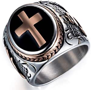 JAJAFOOK Jewelry Black & Silver Stainless Steel Christian Holy Cross Ring for Men's Rings