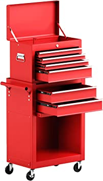 Global Supplies Rolling Tool Cart Mechanic Cabinet Storage Tool Box Organizer with Drawer Red
