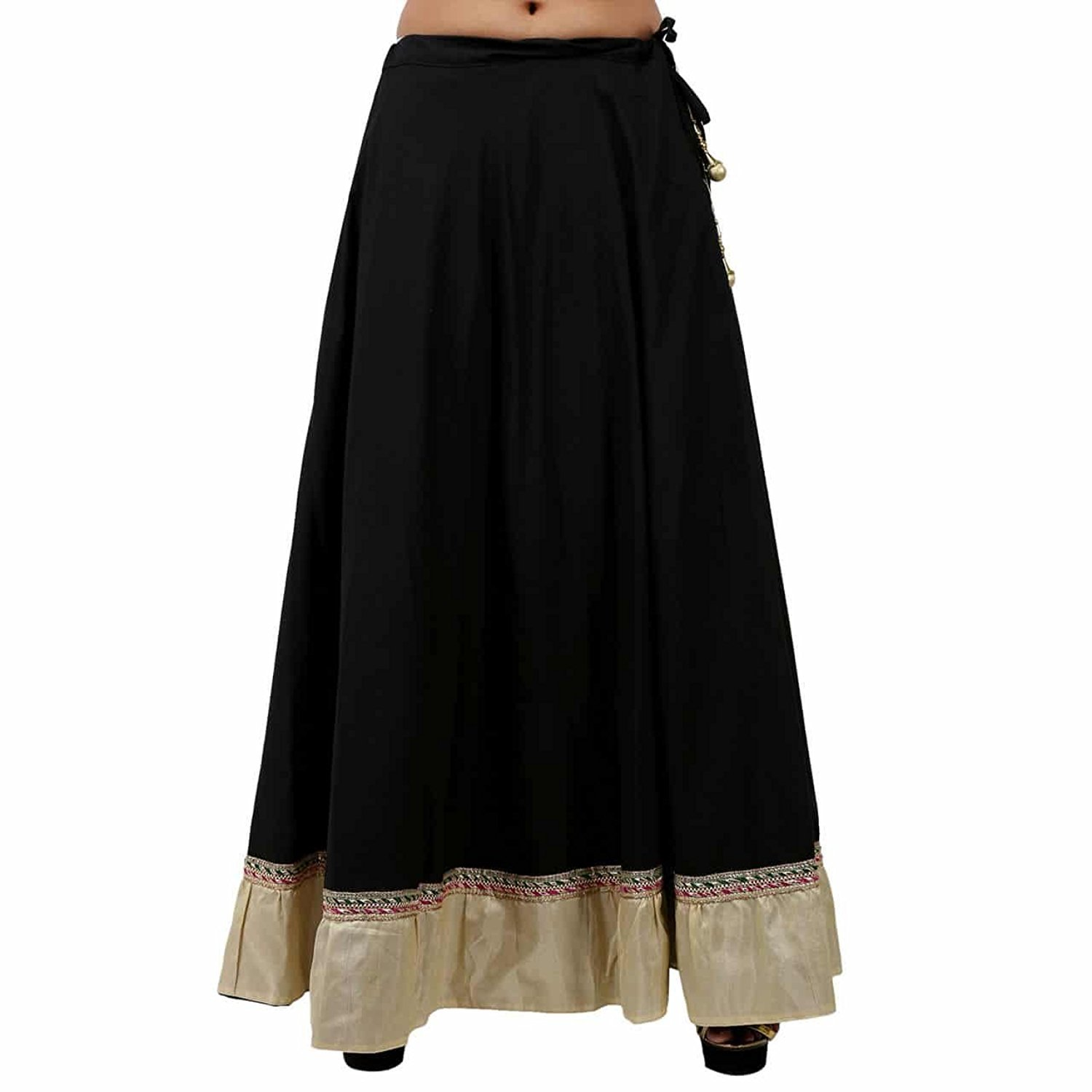 Indian Handicrfats Export Mesmerising Black Cotton Solid Skirt