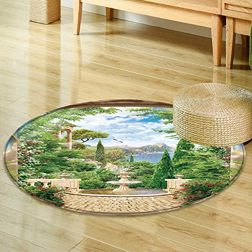 Small round rug Carpet terrace with fountain  door mat indoors Bathroom Mats  Non Slip -Round 35'' by PRUNUSHOME