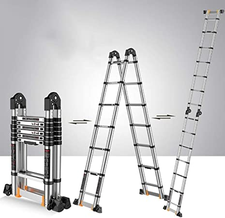 Escalera Telescópica Escalera telescópica multifunción - Escalera elevadora plegable de ingeniería con ruedas Escaleras - Carga pesada 150kg - Escaleras Escalera extensible de aleación de aluminio par: Amazon.es: Hogar