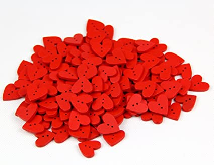 One Pack of About 160pcs Red 20mm Heart Shaped Painted 2 Hole Wooden  Buttons package for Sewing Scrapbooking Crafting