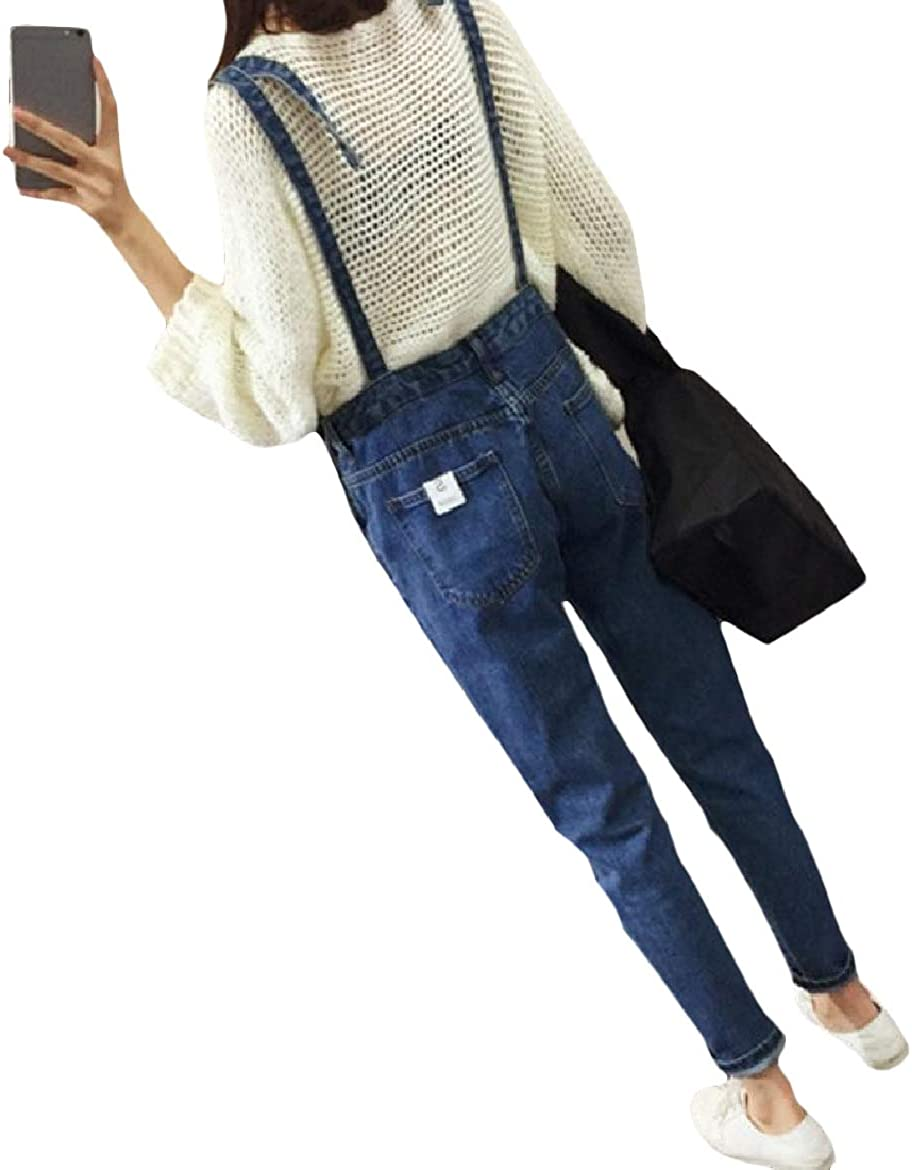 Sayah Womens Thin Buttoned Washed Pockets Denim Fashion Jumpsuit Overalls