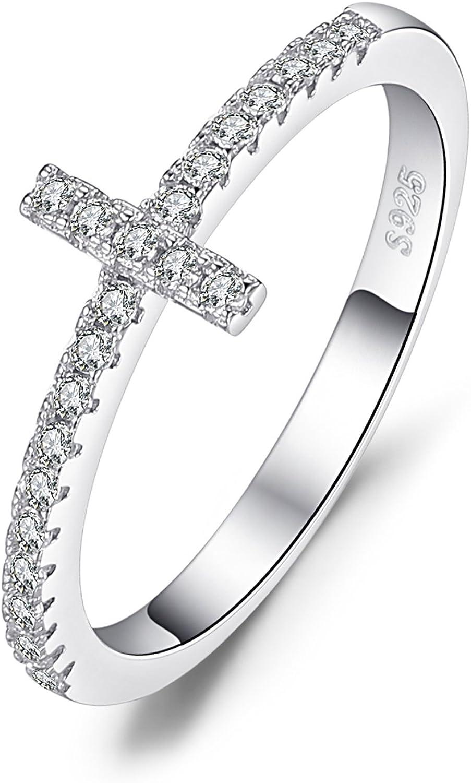 JewelryPalace Anillo Cruz con Zirconia cúbico de boda Plata de ley 925