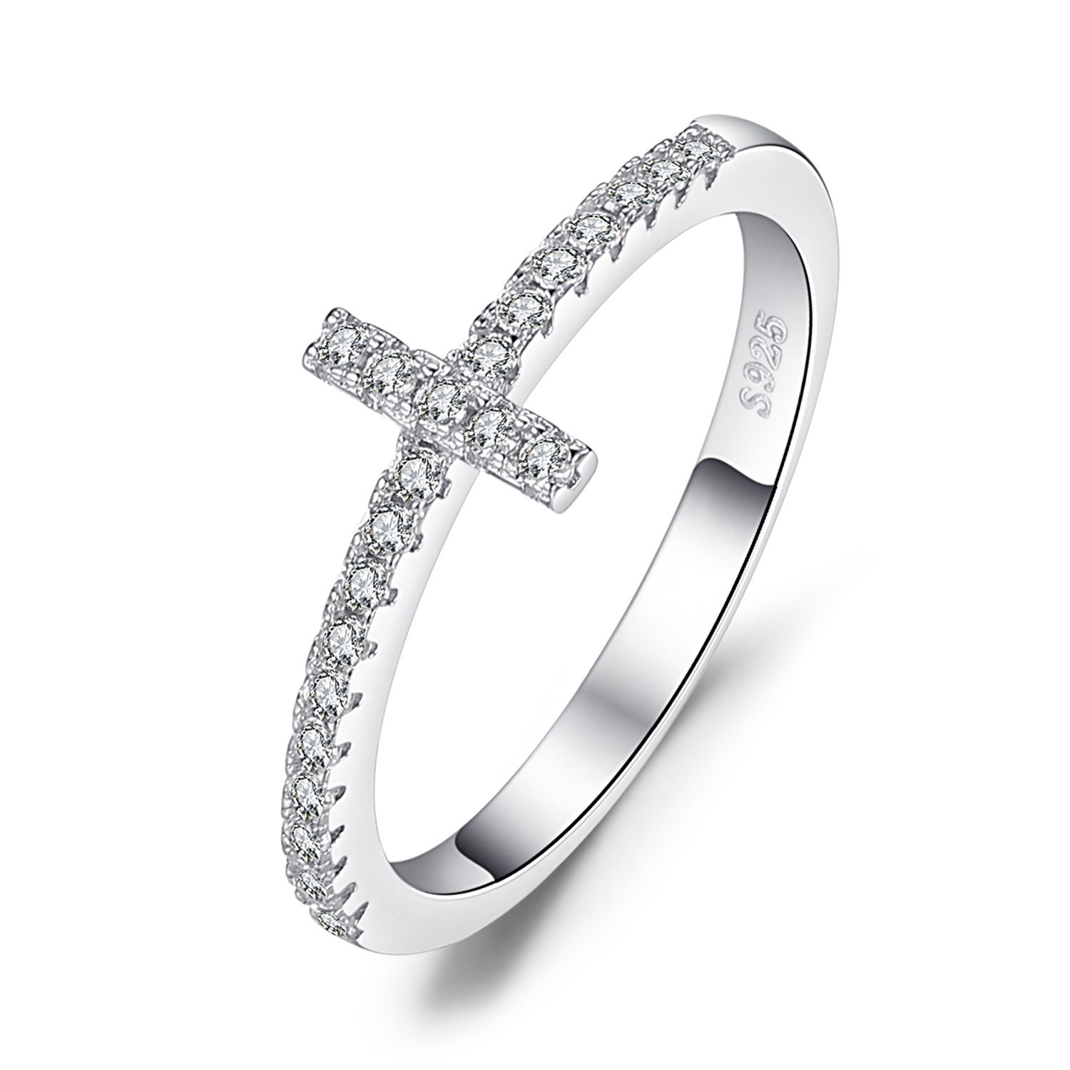 JewelryPalace 925 Sterling Argento Cubic Zirconia Croce Laterale Anello EU-BR349499