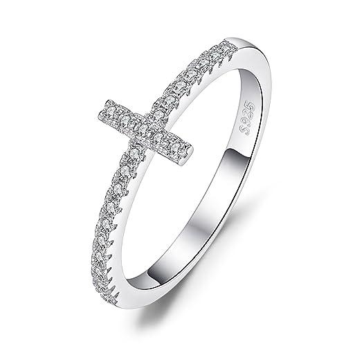 JewelryPalace Cruz de las mujeres Cruz Zirconia cúbico 925 Aniversario de plata esterlina Anillo de compromiso