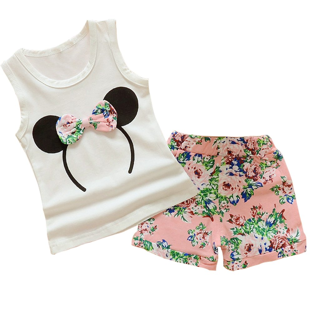 Baby Girl Clothes Outfits Short Sets 2 Pieces with T-Shirt + Short Pants (Pink, 3-4 T)