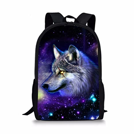 2b57beb19a7f Boys Middle School Backpacks Cool Galaxy Wolf Printed Customized School  Book Bag