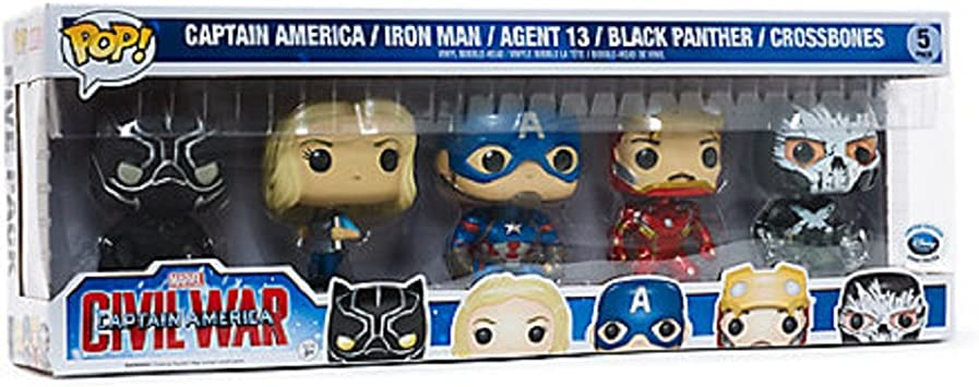 Funko Marvel Pop! Captain America Civil War 5-Pack Vinyl Bobble-Head Figures (Disney UK Exclusive) Includes: Captain America / Iron Man / Agent 13 / Black Panther / Crossbones: Amazon.es: Juguetes y juegos