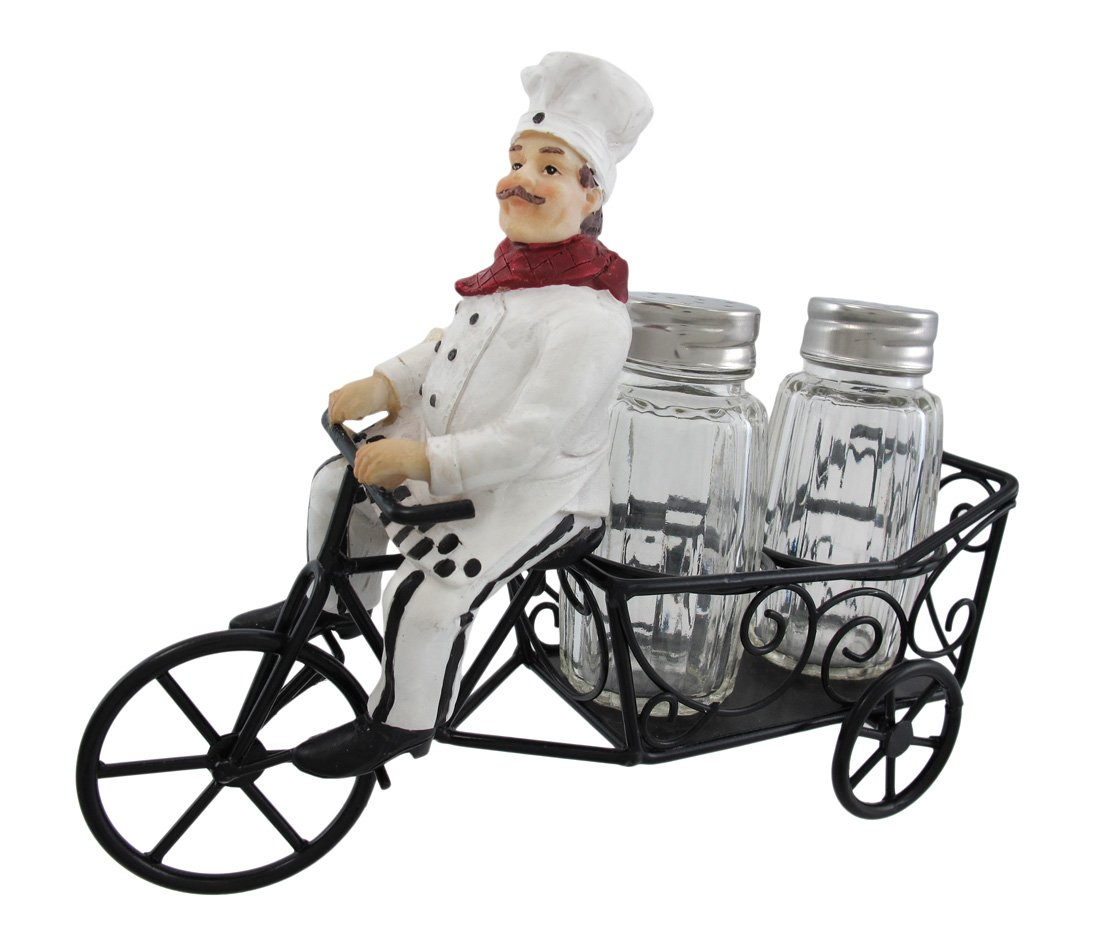 1 X Bicycle Riding French Chef Salt And Pepper Shaker Set DWK HH32120