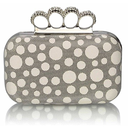 Diamante Clutch Wedding Out Women's CLUTCH BEIGE Clutches Ceremony DOT Purse LeahWard Night For Luxury Beads Handbag 5nF7twdz