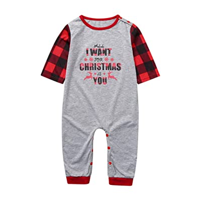 Christmas Family Matching Pajamas Set Mommy Daddy Kids Blouse Lattice Pants Baby Xmas Romper Parent-Child Match Outfit: Clothing [5Bkhe0306602]