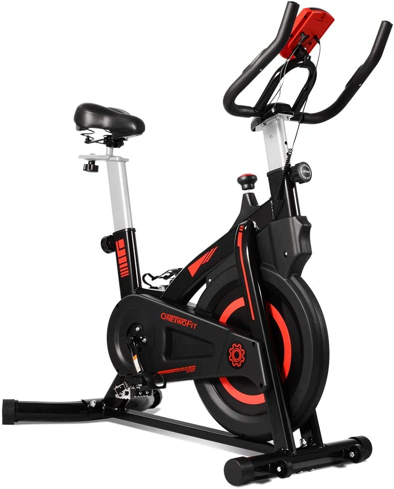 ONETWOFIT Bicicleta estática Cardio Spinning Bike con manillar ajustable y sillín, pantalla LCD, pantalla multifunción para casa OT212