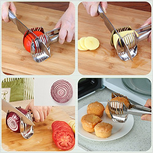 Tomato Slicer Lemon Cutter Stainless Steel Multipurpose Round Fruit Tongs Onion Holder Easy Slicing Kiwi Fruits & Vegetable Tools Kitchen Cutting Helper Clamp, Dishwasher Safe by Spotact (Image #2)