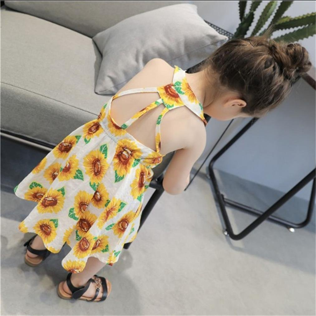 Lurryly Infant Baby Girls Sunflower Print Sleeveless Backless Floral Dress Outfits