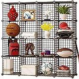 KOUSI Storage Cubes Wire Grid Modular Metal Cubbies Organizer Bookcases and Book Shelves Origami MultiFuncation Shelving Unit, Capacious & Customizable, Black, 16 Cubes