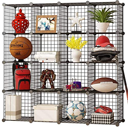 KOUSI Storage Cubes Wire Grid Modular Metal Cubbies Organizer Bookcases and Book Shelves Origami MultiFuncation Shelving Unit, Capacious & Customizable, Black, 16 (Modular Storage Shelving)