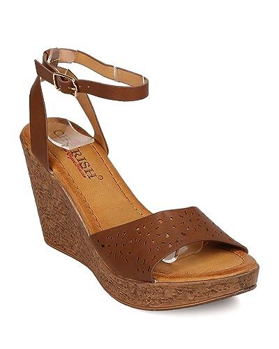 e795404bcfc Cherish Women Leatherette Open Toe Perforated Wooden Platform Wedge Sandal  FJ03 - Brown (Size