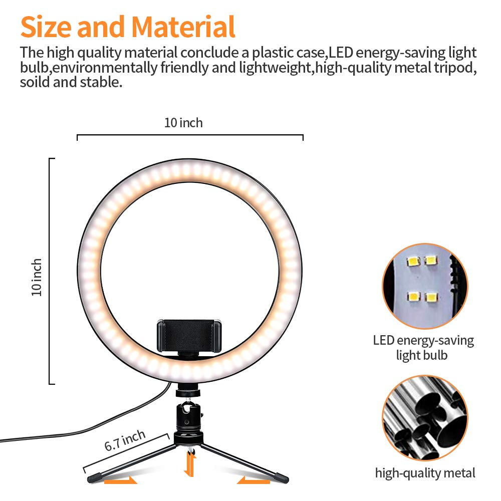 Shooting with 3 Light Modes and 10 Brightness Level Dimmable Desk Makeup Ring Light for Photography 10 LED Ring Light with Tripod Stand and Phone Holder for Selfie,Live Streaming /& YouTube Video