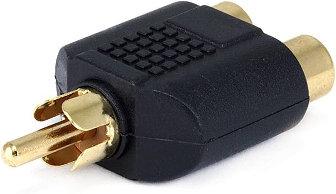 2 Pack Gold Plated Monoprice 107186 RCA Plug to 2 RCA Jack Splitter Adaptor