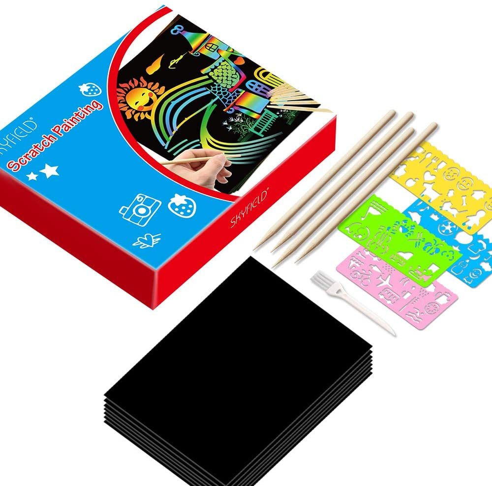 1 Pack 100 Sheets Scratch Arts with 1 Wooden Stylus /& 2 Stencils Arts and Crafts for Kids Creative DIY Gifts Black Paper Magic Rainbow Painting Boards