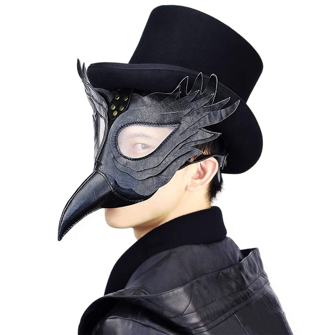 KERVINFENDRIYUN YY4 Leder Steampunk Steampunk Steampunk Pest Arzt Vogel Maske Kurze Nase Schnabel Faux Cosplay Halloween Weihnachten Kostüm Requisiten (Farbe : Style1) 32de1a
