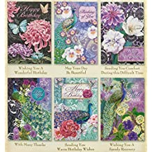 Pooch & Sweetheart Set of 6 All Occasion Greeting Cards with Peacock Floral Theme 96494