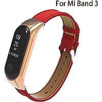 TFHEEY Correa de Repuesto para Xiaomi Mi Band 3, Vintage Ajustable Cuero Banda de reemplazo de la Caja de Metal Fitness Sports Activity Pulsera Pulsera para Xiaomi Mi Band 3 (Rojo)