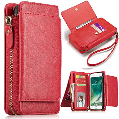 iPhone 7Plus/ 8Plus Women's Case,iPhone 7 Plus/8 Plus Wallet Case,Zipper Detachable Magnetic12 Card Slots Card Slots Money Pocket Clutch Cover Zipper Wallet Purse Case iPhone 7 Plus/8 Plus (Red-0) 0 Folio Case