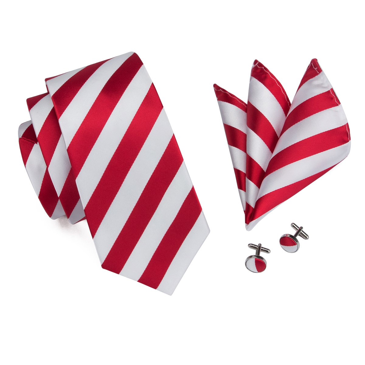 Hi-Tie Men Stripes Tie Handkerchief Necktie with Cufflinks and Pocket Square Tie Set GCUS-0394