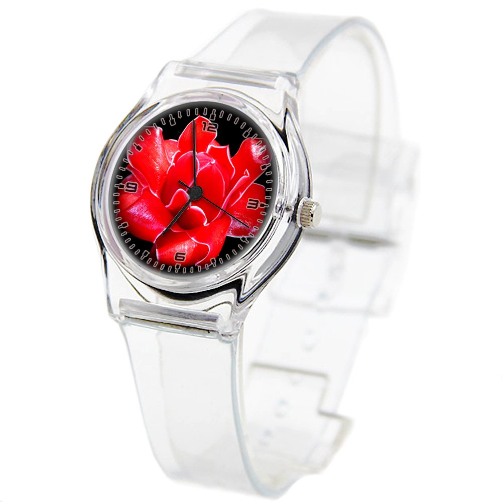 Personality Transparent Wristwatch Transparent Strap Summer Decoration Woman Child teacher Teen Young Girls Children Kids Watches Colorful Flower-488.Orange Tip Butterfly Orange